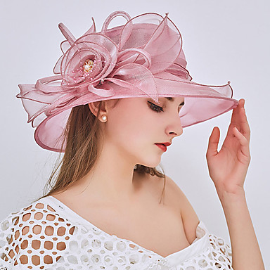 cheap New Arrivals-Women's Party Hat Beaded Ruffle Party Street Holiday Wine Pink Pure Color Hat / Fall / Winter / Spring / Summer / Mesh