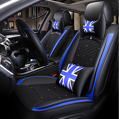 ODEER Car Seat Cushions Covers Black Blue Textile Artificial Leather Common For Universal