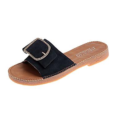 Pentru femei Pantofi PU Primăvară Confortabili Papuci & Flip-flops Toc Drept Vârf rotund Negru / Galben