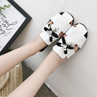 Polyuréthane Confort fermé amp; Eté Plat Ruban Talon Sabot Chaussures 06752088 Strass Mules Blanc Noir Marche Femme Bout Pqn5CUtwXx