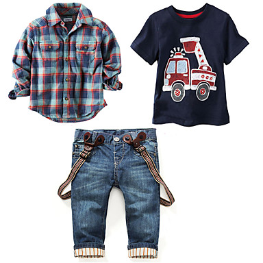 billige Tøjsæt til drenge-Børn Drenge Vintage Basale Daglig Ferie Trykt mønster Ternet Trykt mønster Kortærmet Langærmet Normal Tøjsæt Blå