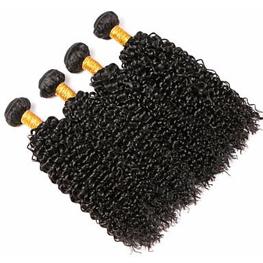 baratos Extensões de Cabelo Natural-4 pacotes Cabelo Peruviano Encaracolado 8A Cabelo Humano Cabelo Humano Ondulado Extensor Cabelo Bundle 8-28 polegada Preta Côr Natural Tramas de cabelo humano Macio Tecido Natural Extensões de cabelo
