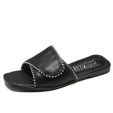 Pentru femei Pantofi PU Vară Pantof cu Berete Papuci & Flip-flops Toc Drept Alb / Negru