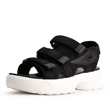 Pentru femei Pantofi Plasă Vară Confortabili Sandale Toc Drept Negru / Rosu