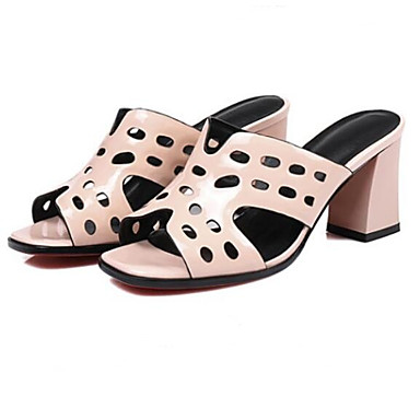 Block Sandales Rose Noir Blanc Heel Cuir Confort Chaussures Nappa Printemps 06770511 Femme FvYXqx