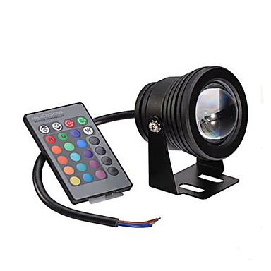billige Utendørsbelysning-1pc 10W Undervannslys Fjernstyrt Mulighet for demping Vanntett Dekorativ RGB 12V Have Courtyard Svømmebasseng Utendørsbelysning