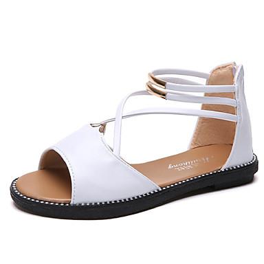 Pentru femei PU Vară Pantofi pe Gleznă Sandale Toc Drept Alb / Negru