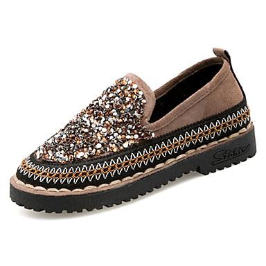 Pentru femei Pantofi PU Vară Confortabili Mocasini & Balerini Toc Drept Vârf rotund Negru / Kaki