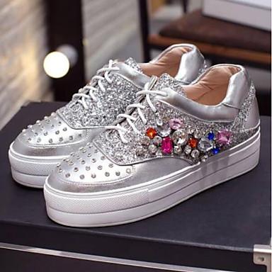 Eté Basket Cuir Bout Blanc 06769651 Femme Strass Creepers fermé Chaussures Confort Argent Nappa qZ1ZxOWc