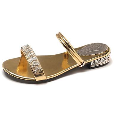 Pentru femei Pantofi PU Vară Pantof cu Berete Sandale Toc Îndesat Auriu / Negru / Argintiu