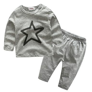 Bebelus Băieți De Bază Zilnic Imprimeu Manșon Lung Scurt Poliester Set Îmbrăcăminte Gri / Copil