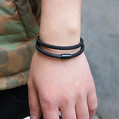 abordables Bracelet-Bracelets Plusieurs Tours Bracelets en cuir Bracelet Magnétique Homme Cuir simple Coréen Mode Bracelet Bijoux Noir Café pour Cadeau Quotidien