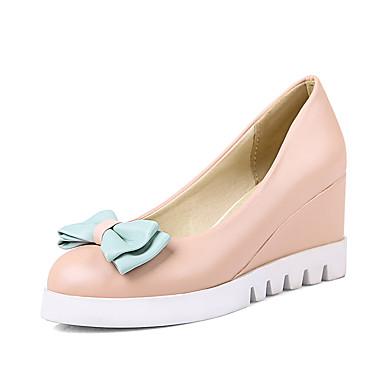 Pentru femei Pantofi PU Primavara vara Balerini Basic Tocuri Toc Platformă Vârf ascuțit Funde Alb / Albastru / Roz