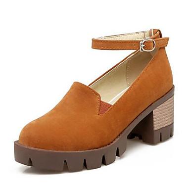 Talons Heel Chaussures Bourgogne Chaussures 06766114 Bout été Cheville Printemps Noir Femme Jaune de rond Block Bride Boucle à Daim SPwA1qz