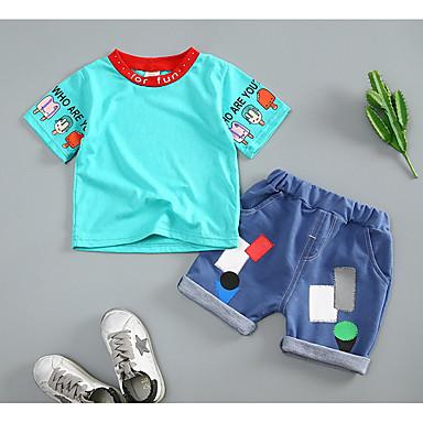 Bebelus Băieți Activ / De Bază Sport Mată / Geometric Manșon scurt Bumbac Set Îmbrăcăminte / Copil