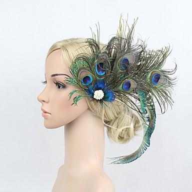 Marele Gatsby Vintage 1920 Costume Pentru femei Bandană Adolescentă Veșminte de cap Albastru Vintage Cosplay Pana de paun