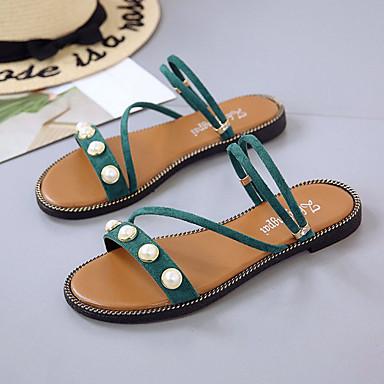 Tacón PU redondo Negro Plano Beige Mujer Verde Zapatos Verano Confort Pedrería Sandalias 06766095 Dedo ZwXHxw