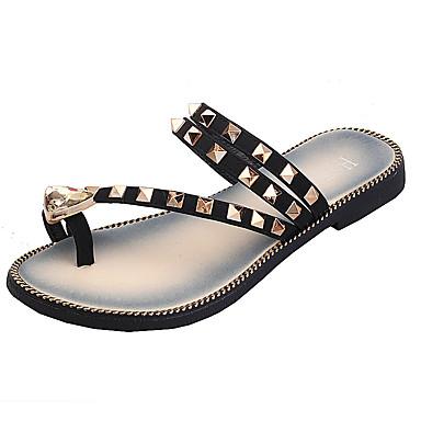 Pentru femei Toe Flip-Flops pentru toe PU Vară Cu Inel pe Deget Papuci & Flip-flops Toc Drept Ținte Negru / Galben