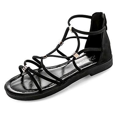 Pentru femei Pantofi Piele nubuc / PU Vară Pantofi pe Gleznă Sandale Toc Drept Negru / Bej