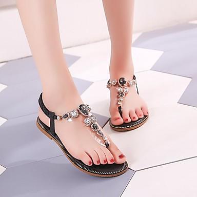 Mujer Plano Tacón Sandalias Verano Zapatos 06764637 Verde Negro Confort PU fn6wf4xqZ