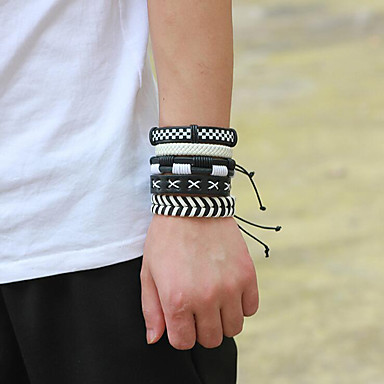 Men's Wrap Bracelet Braided European Casual / Sporty Fashion Cord Bracelet Jewelry White For Daily Going out