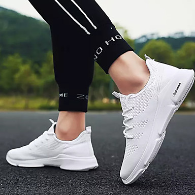 Homme Toile / Tissu élastique Automne Confort Confort Confort Chaussures d'Athlétisme Course à Pied Couleur Pleine Blanc / Noir et Or / Noir / blanc | Modèles à La Mode  48af91