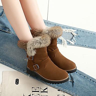 Bottes Bout 06766111 mollet Polyuréthane neige Noir Heel Jaune Hiver Chaussures Femme Beige Bottes Mi Bottes Block de rond WgfSYTqn