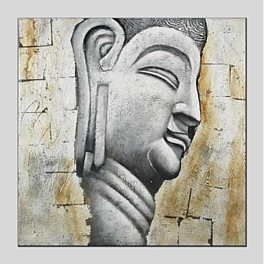 Hang-pictate pictură în ulei Pictat manual - Religios Modern Includeți cadru interior / Stretched Canvas