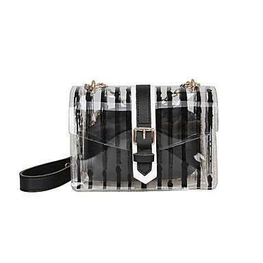 Pentru femei Genți PVC Umăr Bag Fermoar Geometric Negru / Roz Îmbujorat / Galben