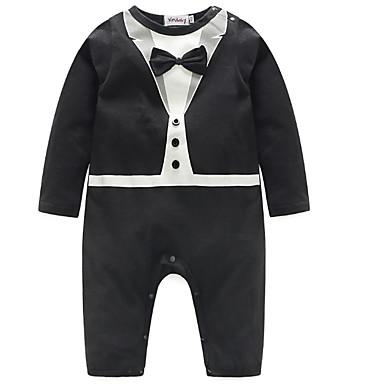 Bebelus Băieți De Bază Mată / Bloc Culoare Funde Manșon Lung Bumbac Salopetă