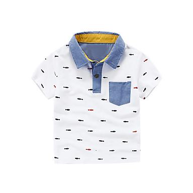 baratos Camisas para Meninos-Bébé Para Meninos Básico Geométrica Manga Curta Algodão Camiseta Branco