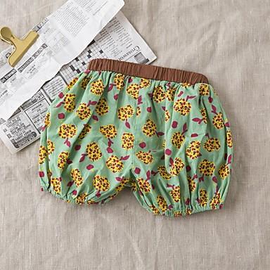 Bambino (1-4 Anni) Da Ragazza Essenziale Fantasia Floreale Cotone Pantaloncini Verde #06719812