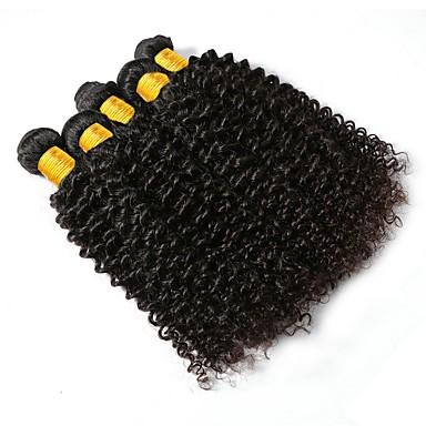 6 pachete Păr Brazilian Buclat Păr Natural Umane tesaturi de par / Extensii din Păr Natural 8-28 inch Culoare naturală Umane Țesăturile de par Fără calotă Design Modern / Cea mai buna calitate