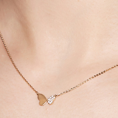 8c903ceef9d173 Women's Pendant Necklace Chain Necklace 18K Gold Plated S925 Sterling Silver  Butterfly Dainty Ladies Simple Gold