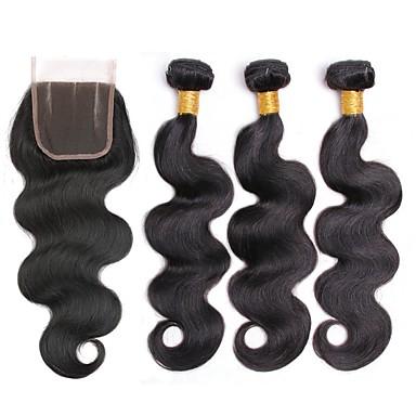 baratos Extensões de Cabelo Natural-3 pacotes com fechamento Cabelo Malaio Ondulado 8A Cabelo Humano Cabelo Humano Ondulado Extensões de Cabelo Natural Trama do cabelo com Encerramento 8-22 polegada Côr Natural Tramas de cabelo humano