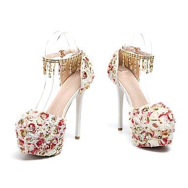 Pièces Bout Printemps Polyuréthane 06732041 de été Deux Chaussures Talon Aiguille Fleur Chaussures en mariage rond Femme D'Orsay Satin amp; Perle qO0RExw5