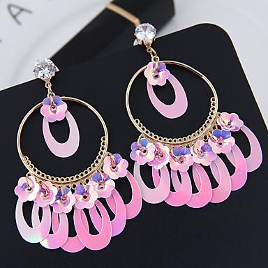 baratos Bijuteria de Mulher-Mulheres Brincos Compridos Caído Europeu Fashion Brincos Jóias Roxo / Azul / Rosa claro Para Diário 1 par