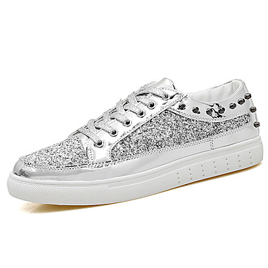 Pentru femei Pantofi Pânză Primavara vara Confortabili Adidași Toc Drept Vârf rotund Auriu / Negru / Argintiu