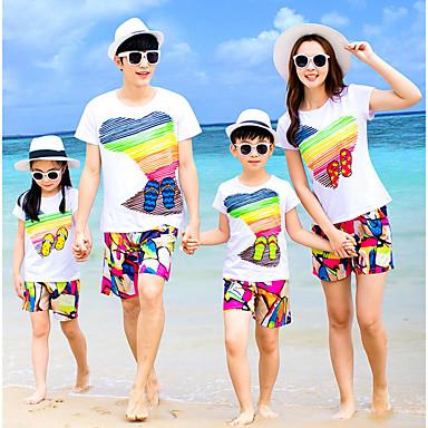 ieftine Set Îmbrăcăminte De Familie-Familie Uite De Bază Plajă Curcubeu Manșon scurt Poliester Set Îmbrăcăminte Curcubeu