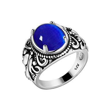 Bărbați Band Ring - S925 Sterling Silver Floare Vintage, Corean, Modă Albastru Închis / Rosu / Verde Pentru Petrecere Mascaradă