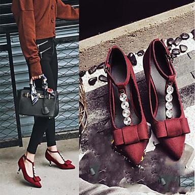 Noir Chaussures Soirée pointu Boucle Evénement Bout Daim Rouge Talons Chaussures Salomé Automne Femme Aiguille 06766122 Talon Noeud amp; à qHfOwIfvZ