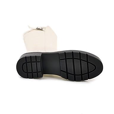 Beige Bout Chaussures Bottes Blanc la à Femme Polyuréthane Hiver rond Bottes 06765350 Block Bottes Mode Heel Noir ZqvnwU