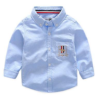 baratos Camisas para Meninos-Infantil Para Meninos Básico Diário Estampado Bordado Manga Longa Padrão Algodão Camisa Azul