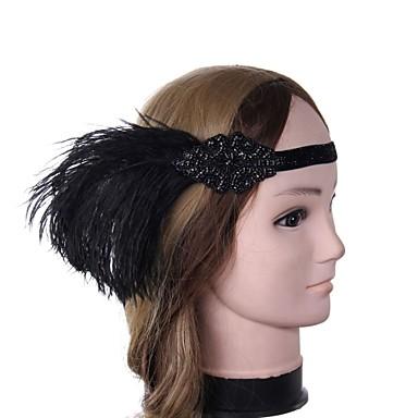 Marele Gatsby Vintage 1920 Costume Pentru femei Bandană Adolescentă Veșminte de cap Negru Vintage Cosplay Pană Fără manșon Costume de Halloween