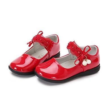 Fete Pantofi PU Primavara vara Confortabili / Pantofi Fata cu Flori Pantofi Flați Plimbare Funde / Bandă Magică pentru Copii Negru / Rosu