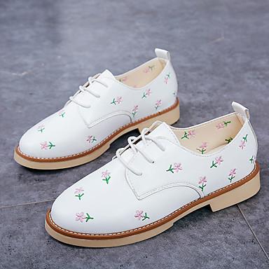 06766373 redondo Tacón Zapatos Beige Blanco Confort Mujer Plano Negro Dedo PU Oxfords Verano 4fq1x7WwT