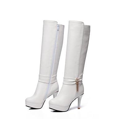 Noir Femme Faux Cuir à Talon Bottes Bottes Boucle Aiguille Bout hiver la Bottes Mode Automne rond Blanc Chaussures Marron 06756655 gSrAqwnST