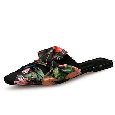 Women's Shoes Satin Spring Summer & Summer Spring Comfort Clogs & Mules Flat Heel Black / Blue / Party & Evening c7d417