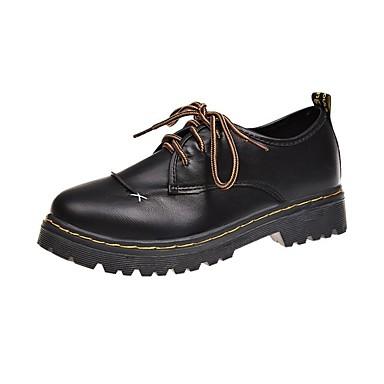 Pentru femei Pantofi PU Primăvară Confortabili Oxfords Toc Drept Negru / Maro