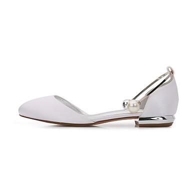 les chaussures de confort / d'orsay et et et satin printemps deux - pièces en chaussures croûton round toe pearl Bleu  / champagne / ivoire / partie & soir 1eb68c